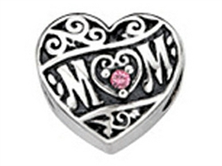 Zable Sterling Silver Mom Heart With Crystals Pandora Compatible Bead / Charm