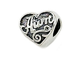 Zable Sterling Silver Aunt Heart Shape Bead / Charm