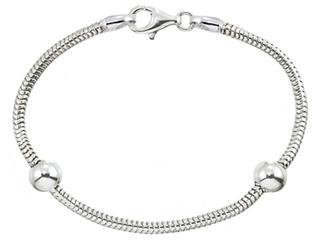 "Zable 6.5"" Sterling Silver Snake Bracelet with Smart Pandora Compatible Bead / Charm"