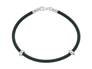 Zable Sterling Silver 7 inch by 3mm Rubber Bracelet for Pandora Compatible Bead / Charm