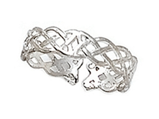 Sterling Silver Rhodium Finish Toe Ring Celtic Braid
