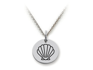 Stellar White 925 Sterling Silver Outline Shell Disc Pendant Necklace - Chain Included
