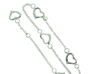 10 Inches Ankle Bracelet With Heart Links