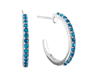 The amazing 1.5mm Royal Blue Created Spinel Post-With-Fiction-Back Hoop Earrings, crafted in 925 Sterling Silver. This attractive design is mounted with 28 stones prong set blue Round Created Spinel eye clean clarity. This design measures 2.00 mm wide, 19