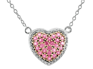 The alluring 1.5mm Heart Shaped Created Pink Sapphire 18 Inch Necklace, crafted in 925 Sterling Silver. This product measures 15.50 mm wide, 13.00 mm long.