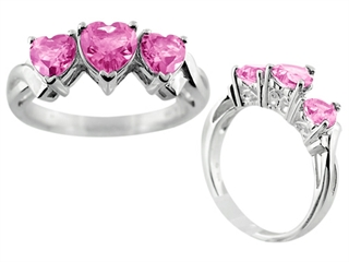 6x6mm Created Pink Sapphire Heart Shaped Ring
