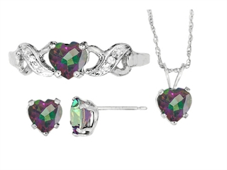 Antique Heart Shaped Mystic Topaz Pendants Earrings and Ring Set