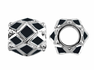 Storywheel Black Enamel Bead / Charm