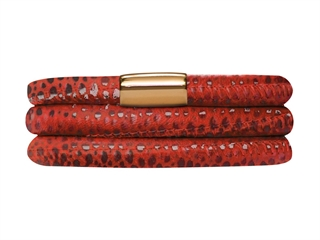 Endless Jewelry - Jennifer Lopez Collection Red Reptile, 57cm/7.5inch Triple Leather Bracelet Gold Finish