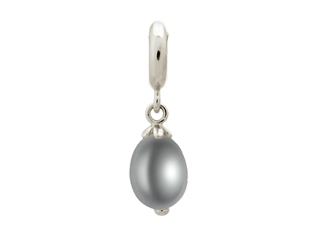 Endless Jewelry Grey Pearl Drop Silver Grey Pearl Rhodium Silver Finish