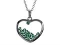 Floating May Birth Months Simulated Emerald Heart Shape Sterling Silver Glass Pendant