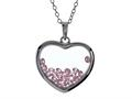 Floating October Birth Months Simulated Pink Tourmaline Heart Shape Sterling Silver Glass Pendant