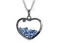 Floating September Birth Months Simulated Sapphire Heart Shape Sterling Silver Glass Pendant