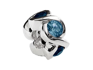 SilveRado Sterling Silver Simulated Blue Topaz Bead / Charm