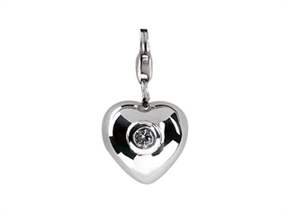 SilveRado Verado Sterling Silver Heart Simulated Aquamarine Click-on Bead / Charm
