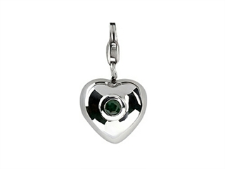 SilveRado Verado Sterling Silver Heart Simulated Emerald Click-on Bead / Charm