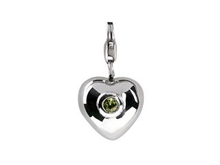 SilveRado Verado Sterling Silver Heart Simulated Peridot August Click-on Bead / Charm