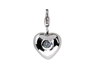 SilveRado Sterling Silver Heart Simulated Blue Topaz December Click-on Bead / Charm