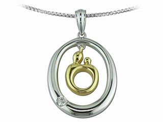 Mother and Child Sterling Silver Oval Pendant Necklace and 14kt Yellow Gold Charm by Janel Russell