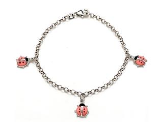 Sterling Silver Children Pink Ladybug Charm Bracelet
