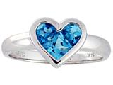 Tommaso Design™ Genuine Blue Topaz Invisible Set Heart Ring Style #23335