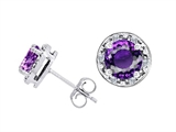 Tommaso Design™ Genuine 6mm Round Amethyst Earrings Studs Style #304849