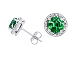 Tommaso Design™ Simulated 6mm Round Emerald Earrings Studs Style #304851