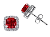 Tommaso Design™ Cushion Cut Created Ruby Earrings Studs Style #304858