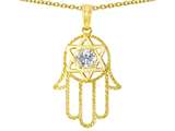 Tommaso Design™ Large 1.5 inch Hamsa Hand Jewish Star of David Protection Pendant Necklace Style #305102