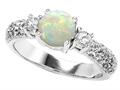 925 Sterling Silver 14K White Gold Plated Created Round Opal Engagement Ring