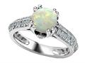 925 Sterling Silver 14K White Gold Plated Genuine Round Opal Engagement Ring
