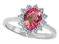 925 Sterling Silver 14K White Gold Plated Genuine Pear Shape Pink Tourmaline Engagement Ring