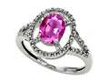 14k Gold Genuine Oval Pink Tourmaline and Diamond Ring