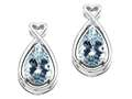 14k Gold Genuine Pear Shape Aquamarine and Diamond Earrings