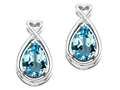 14k Gold Genuine Pear Shape Blue Topaz and Diamond Earrings