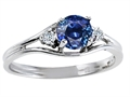 10k Gold Genuine Sapphire and Diamond Ring