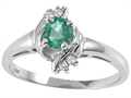 10k Gold Genuine Emerald and Diamond Ring
