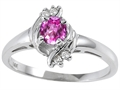 10k Gold Genuine Pink Tourmaline and Diamond Ring