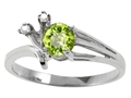 10k Gold Genuine Peridot and Diamond Ring
