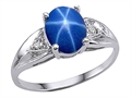10k Gold Lab Created Star Sapphire and Genuine Diamond Ring