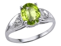 10k Gold Genuine 9x7 Oval Peridot and Diamond Ring