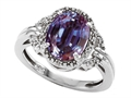 10k Gold Lab Created Oval Alexandrite and Diamond Ring