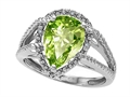 10k Gold Genuine Pear Shape Peridot and Diamond Ring