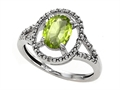 10k Gold Genuine Oval Peridot and Diamond Ring