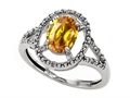 10k Gold Genuine Oval Citrine and Diamond Ring