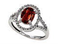 10k Gold Genuine Oval Garnet and Diamond Ring