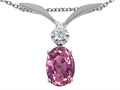 Tommaso Design(tm) Oval 7x5mm Genuine Pink Tourmaline Pendant