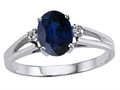 10k Gold Genuine Oval Sapphire and Diamond Ring