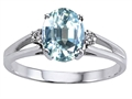 10k Gold Genuine Aquamarine and Diamond Ring