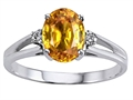 10k Gold Genuine Citrine and Diamond Ring